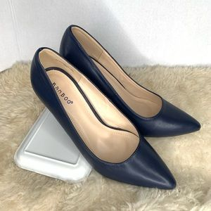 Bamboo Pointed Toe Pump Heels Navy Blue Size 10
